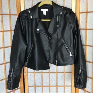 H&M faux leather cropped biker jacket